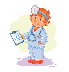 icon of small child doctor in a medical vector image