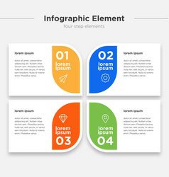 Infographic element four option box set vector