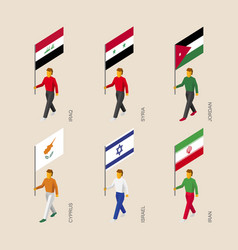 Isometric people with flags of gulf countries vector