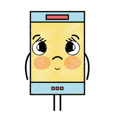 Kawaii cute tender smartphone technology vector