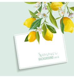 Lemons and Flowers Card Fruit Background Wedding vector