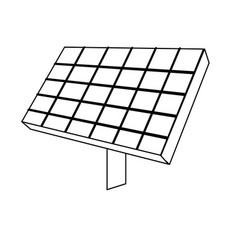 line solar energy element to ecologycal care vector image