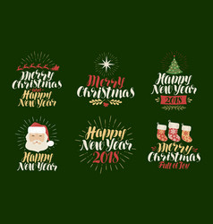 Merry christmas happy new year label set xmas vector
