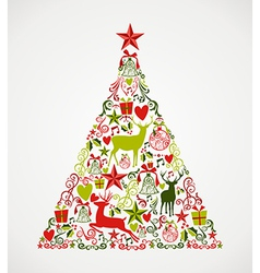 Merry Christmas tree shape full of elements vector