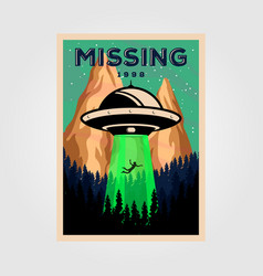Missing people with unidentified flying object vector