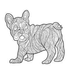 Monochrome hand drawn zentagle of French bulldog vector
