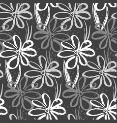 Monochrome pattern with inky chamomile flowers vector