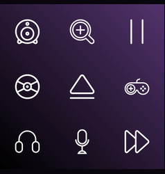 Music icons line style set with microphone eject vector
