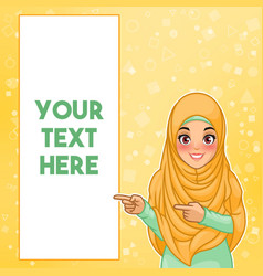 Muslim woman pointing finger to the right side vector