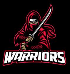 ninja warrior mascot hold sword vector image