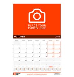 october 2019 wall calendar for 2019 year design vector image