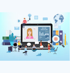 online education webinar icons composition with vector image