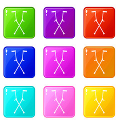 Other crutches icons 9 set vector