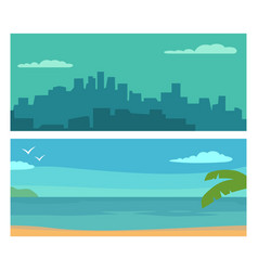 panorama night city and sunset sea flat vector image