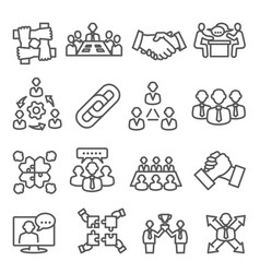 partnership line icons set on white background vector image