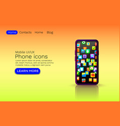 phone icons application device screen web site vector image