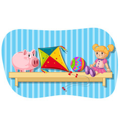 Piggybank and other toys on wooden shelf vector