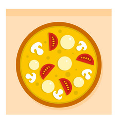 Pizza with sausages tomatoes and mushrooms icon vector