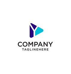 Play media letter y logo design concept template vector