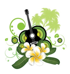 Plumeria flowers and guitar vector