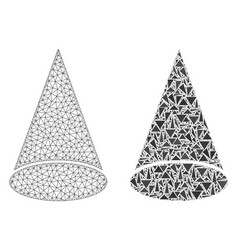 Polygonal wire frame mesh cone figure and mosaic vector