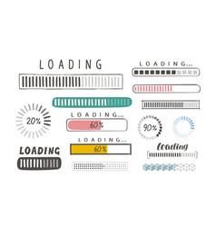 Progress loading bar set of icons load symbol vector