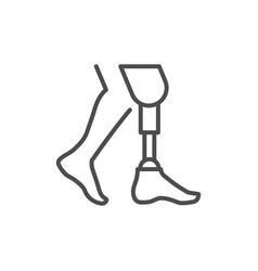 Prosthetic leg line outline icon vector