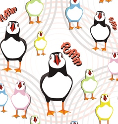 Puffin bird pattern vector