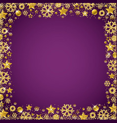 purple christmas card with border of golden vector image