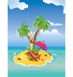 Red Bikini Girl on Island vector image