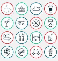 restaurant icons set with coffee cup no drinking vector image