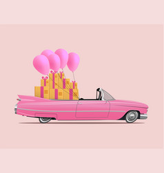 retro cartoon pink car roadster with full saloon vector image