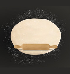 Rolled dough flour sprinkles wooden rolling pin vector