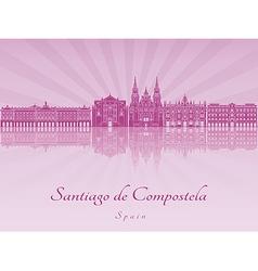 Santiago de Compostela skyline in purple radiant vector image