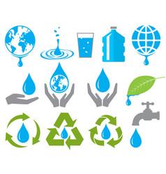 Save water sign symbol set vector