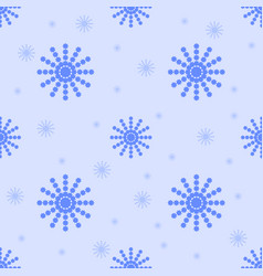 seamless pattern of blue snowflakes on a light vector image