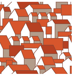 Seamless pattern with awesome houses and red vector