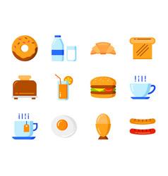 set breakfast icon flat color style symbols vector image