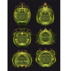 set of green and gold frames vector image