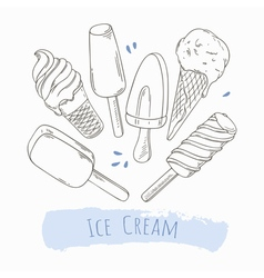 Set of hand drawn different ice cream vector image