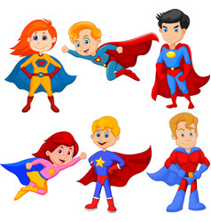 set superhero girl and boy with different pose vector image