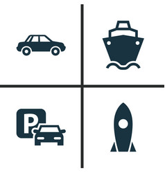 Shipment icons set collection of tanker vector