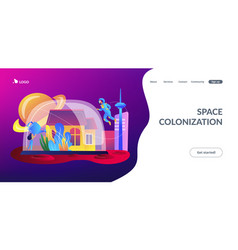space colonization concept landing page vector image
