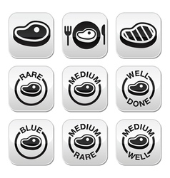 Steak - medium rare well done grilled buttons s vector