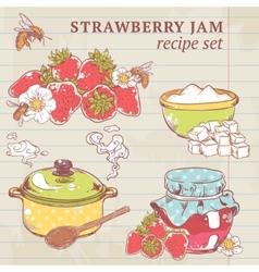 Strawberry jam ingredients vector