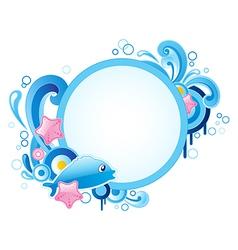 Summer blue marine round banner vector image