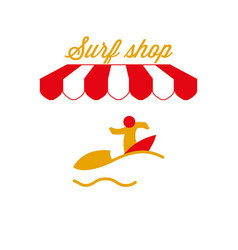 Surf shop sign emblem red and white striped vector