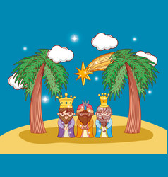 Three king magicians with star and palm trees vector