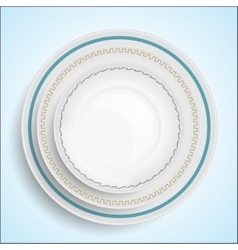 three white plates stacked on top of each other vector image