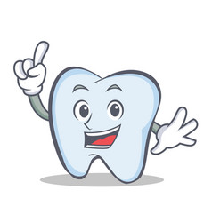 tooth character cartoon style with one finger vector image